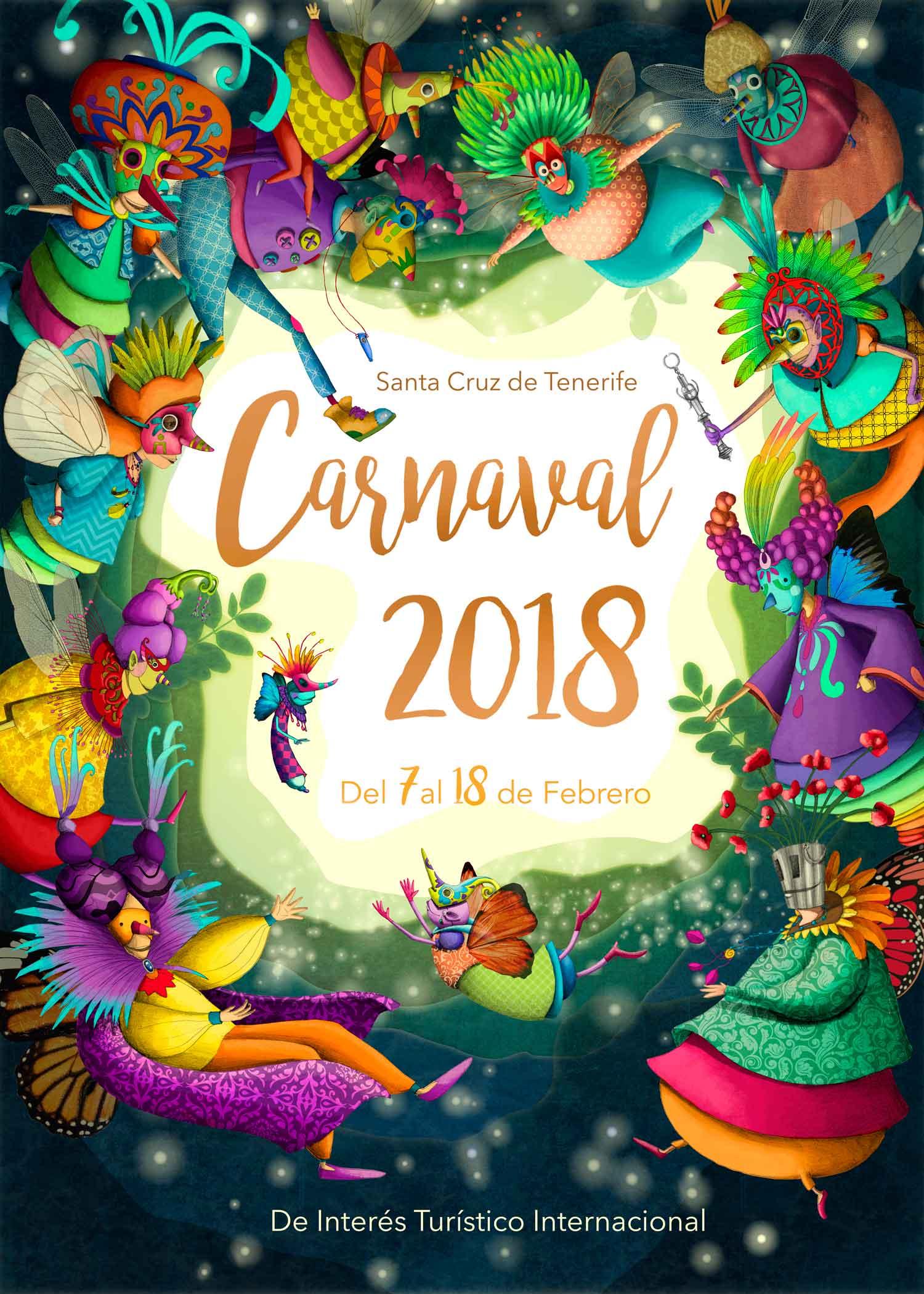 Официальная Афиша Карнавала в Санта-Крус-Де-Тенерифе 2018. Дизайнер Нареме Мелиана Махуго.