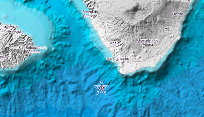 Землетрясение в4балла произошло наюге Тенерифе